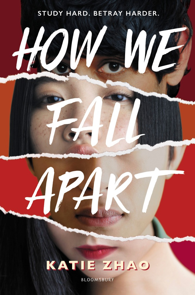 How We Fall Apart by Katie Zhao cover: four faces with a red background divided by ripped paper.